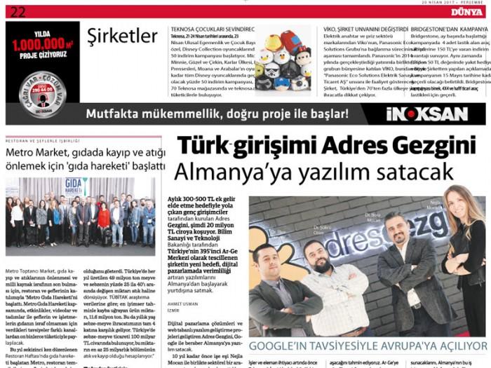 Türk Girişimi AdresGezgini Almanya'ya Yazılım Satacak