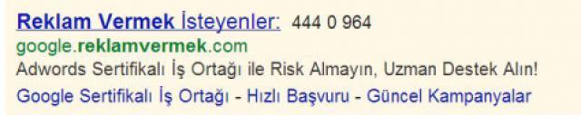 Google AdWords Reklam Metinlerinde Telefon Numaraları
